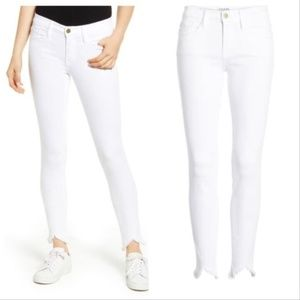 ** FRAME Le High Skinny Raw-Edge Stagger Jeans NEW